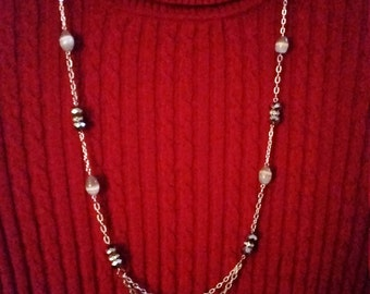 Silver Chain and Grey CatEye Necklace and Earring Set