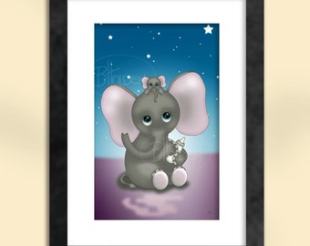 Cute Elephant with Baby Art Print