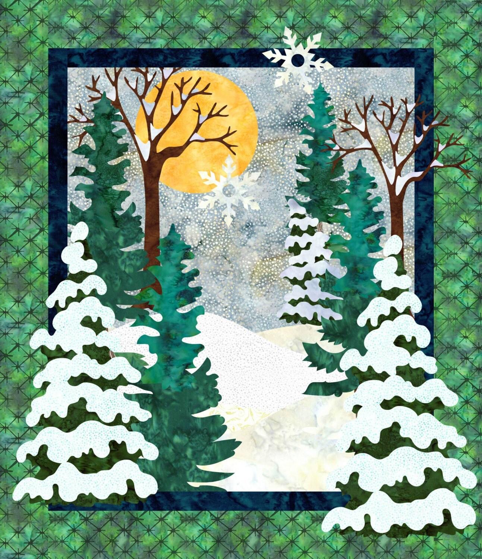 Landscape Quilt Patterns Kits : Snow Day Winter Landscape Quilt Pattern Instant Download
