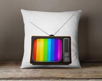 "Retro TV Pillow | Cool Teen Gift | Cool Pillows - ""TV in the 80's"" Pillow Case"