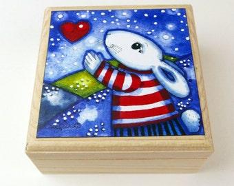 Rabbit Jewellery Box. Rabbit Gift.Rabbit Home gift.Folk Art.Childrens gift.Nursery Gift, Whimsical art.Gift.Art and Collectables.Rabbit Box.