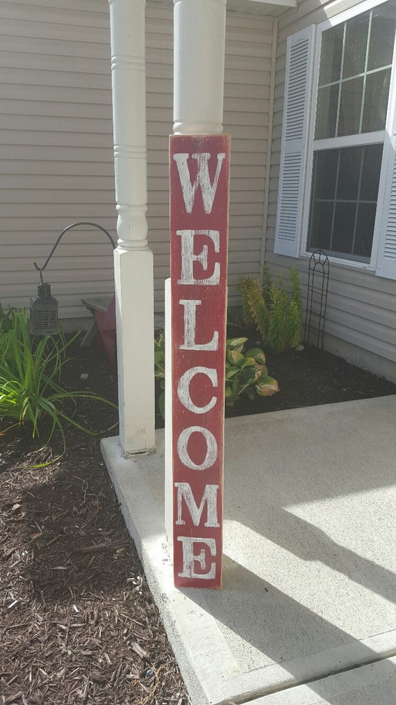 Welcome Sign Wood Sign Red Sign Outdoor Sign Vertical