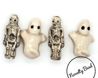 4 - Small - Ghost & Skeleton Beads - Halloween Beads - Fall Beads - Novelty Beads - Ceramic