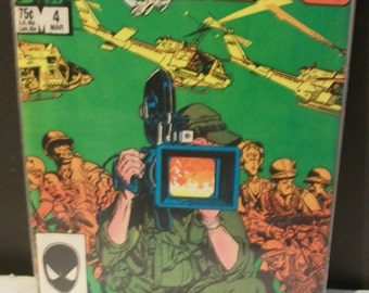 1987  The Nam #4  Vietnam War Helicopters and Jets On Cover  VG-VF  Larry Hama Vintage Marvel Comic Book