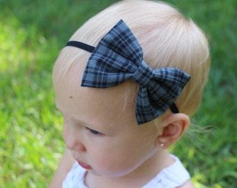 gray and black plaid bow headband