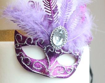 Glittery Masquerade Masks (Purple & Silver)