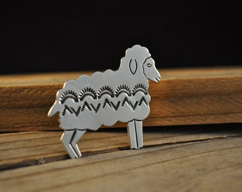 Sterling silver sheep pin stamped sterling silver pin Animal jewelry lamb pin KD1164