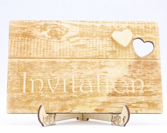 Rustic Wooden Wedding Invitation, Lasercut Unique Wedding Invitation, Wood Invitation, Laser Engraved Invitation, Wooden Wedding Invitation