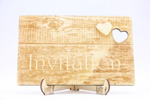 Rustic wooden wedding invitation lasercut unique wedding like this item stopboris Choice Image