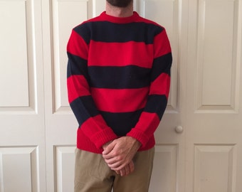 Navy and Red Striped Pull-Over Sweater