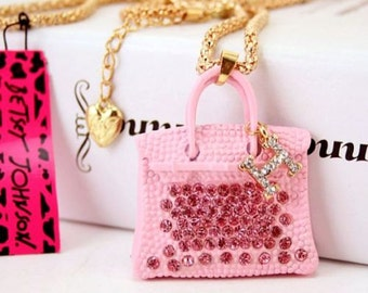 Pink Handbag Purse Pendant Necklace Ornament