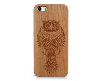 Laser Engraved Hand Drawn Tribal Doodle Zentangle Inspired Owl Wood phone Case for iPhone 5/S, 6/S and 6S plus  IP-060