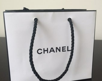 Chanel Large White Black Paper Shopping Bag New