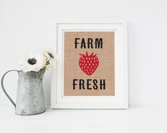 Fresh Strawberries Burlap Sign