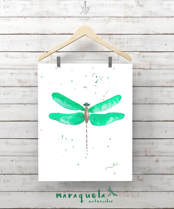 Green DRAGONFLY Illustration Watercolor - Art wall, watercolor, painting living- room, home decor, poster print living-room ideas gift woman