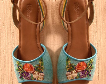 Hand-Embroidered Floral Flat Sandals, Women's Shoes, Handmade Slingback Sandals, Cora, Bohemian Sandals, Flower Lace Sandals