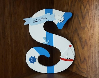 Handmade Personalised Boys Door Sign Plaque Wall Letter Nautical Boats Ships Sea Sailing Theme