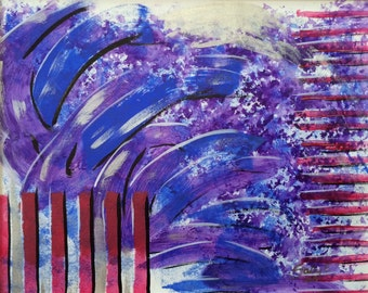 """Small Abstract Painting, Blue red purple contemporary wall art """"Red Stripes Blue Flares"""" 9x12"""" on canvas paper Original patriotic abstract"""