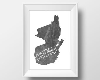 Guatemala Chalkboard Printable Art, Guatemala Print, Guatemala Art, Guatemala Wall Art, Modern Art,