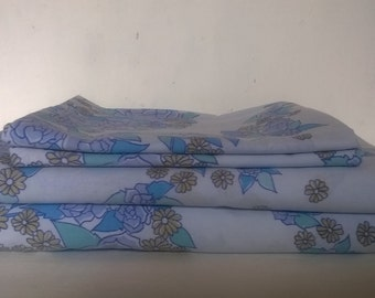 Retro single twin bed sheet Dorma 'Sweetbriar' blue - Two availible