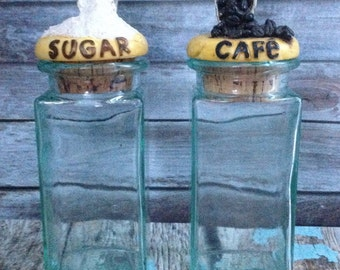 Green Glass Canisters Made in Italy Sugar and Coffee Canisters #1-0118-12 & #1-0128-12