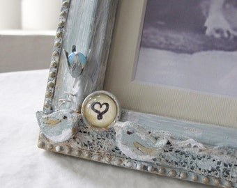 Lovebirds Frame, Love-birds Frame, Valentine's Gift, Wedding frame, baby picture frame, baby shower gift, vintage, Anniversary, Victorian