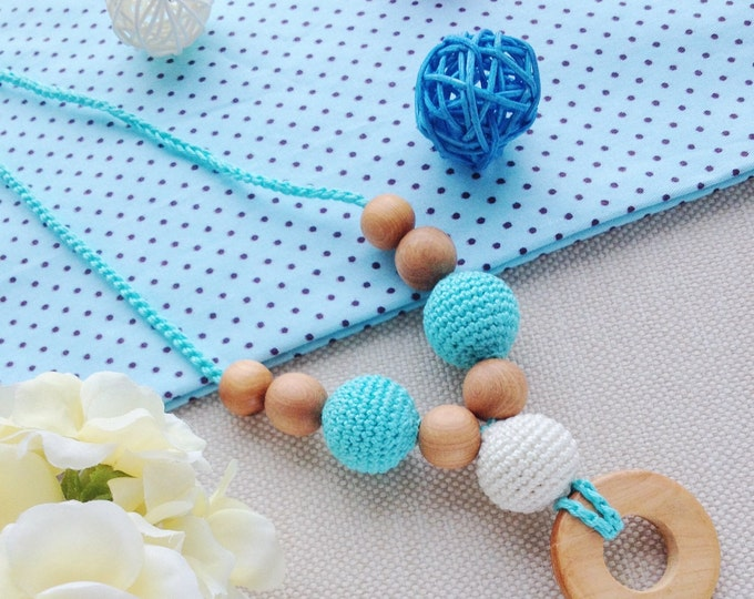 Nursing necklace / Teething necklace / Breastfeeding necklace - with a teething ring - Minty mood