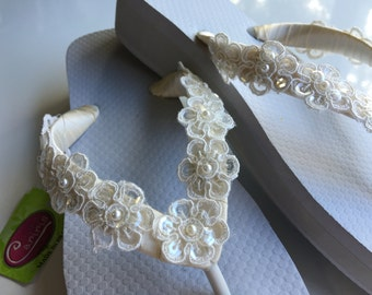 Ivory Bridal Lace Wedge Flip Flop, Bridal Sandals, Beach Wedding Sandals, Wedge Wedding Flip Flops, Wedding Destination Sandals