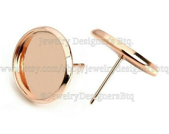 20pcs, 12mm Bezel Rose Gold Color Stud Earring Cabochon Settings, DIY Earrings, Jewelry Supplies, 10 pairs with ear nuts included