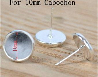 20pcs, 10mm Silver Plated Earring Tray Bezel Cabochon Setting Stud Earrings Silicone Ear Nuts Backing 10mm Cabochons Bezel Earring Blanks