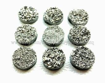 12mm Titanium Druzy Cabochon Faux Druzies Cabochons Gunmetal Cabs Kawaii Moonstones Resin Stones Cabochon Metallic Glitter DIY Earrings