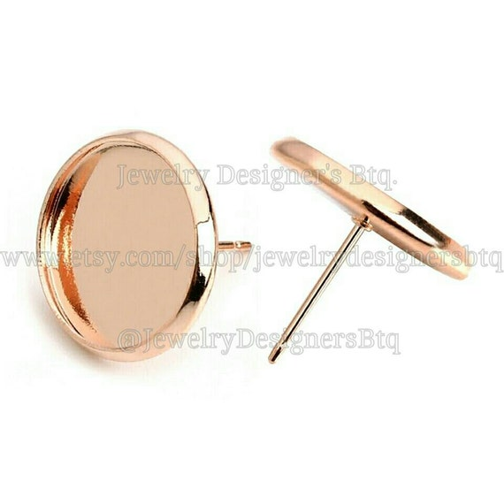 20pcs 12mm bezel rose gold cabochon settings stud for Earring supplies for jewelry making