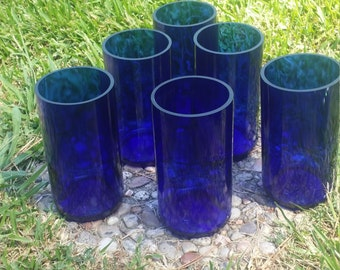 Set of 6 Large upcycled cobalt blue dinner glasses