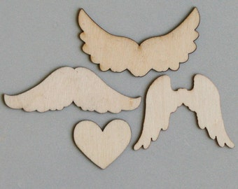 "Wooden Shapes 12/Pkg-Wings To My Heart 1.5"" To 2.5"""