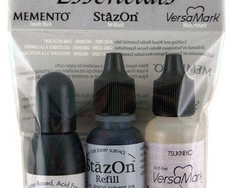 Tsukineko Essentials Black Ink Refills - Memento, StazOn & VersaMark