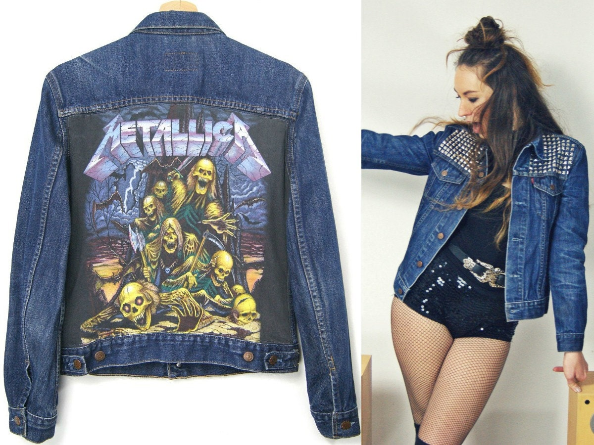 METALLICA LEVIS JACKET jeans denim jacket with studs levis by