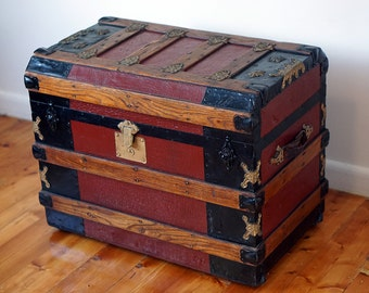 Antique Likly, McDonald and Rockett Flat Top Steamer Trunk 1800s