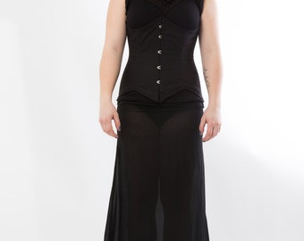 Black waist Cincher with spring spiral rods, top with fabric manipulation and slit chiffon skirt black, Goth