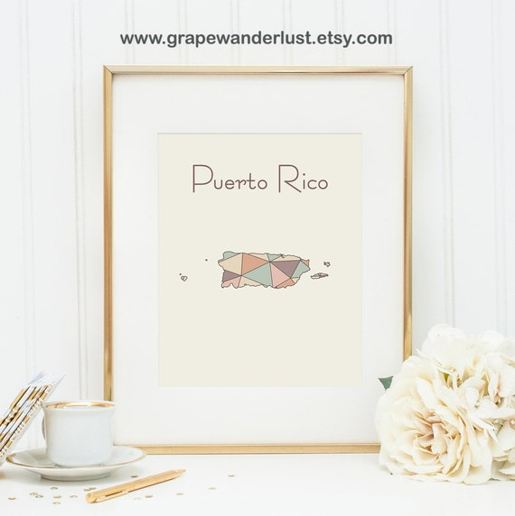 Items similar to puerto rico art puerto rico map puerto for Puerto rico home decorations