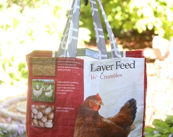 Up-cycled/Recycled Chicken Feed Sack Tote Bag
