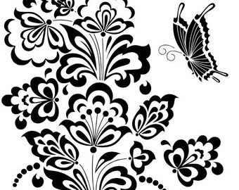 Stylized Flower & Butterfly SVG