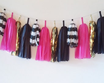 Tissue Tassel Garland  //  Bright Pink  //  Stripes  //  Gold  //  Black  //  Bridal Shower Decor  //  Birthday Party