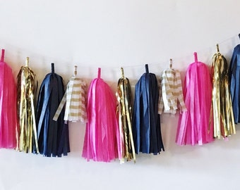 Tissue Tassel Garland  //  Bright Pink  //  Stripes  //  Gold  //  Navy  //  Bridal Shower Decor  //  Birthday Party