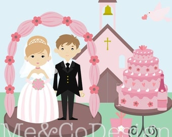 Wedding Day Clipart, Fun Pretty Clipart, Big Day, Ceremony Instant Download, Personal and Commercial Use Clipart, Digital Clip Art