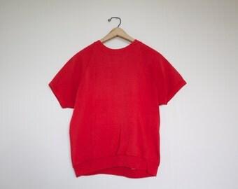 Vintage Red Short Sleeve Sweatshirt