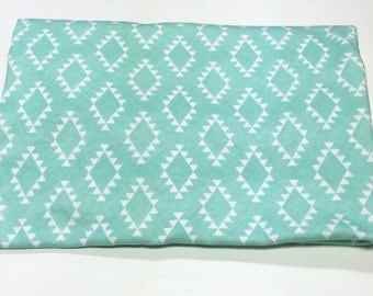 Mint Aztec Organic Knit Baby Blanket; swaddle blanket, gender neutral, baby shower gift