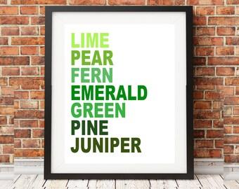 Shades of Green Colour Chart Print