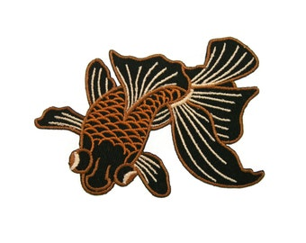 Black Goldfish Embroidered Applique Iron on Patch