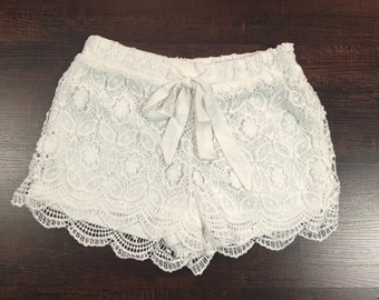 White lace crochet shorts