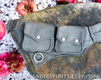 5 pocket pixie belt with 3 small rings  hippie pixie festival psytrance elven forest dweller in green